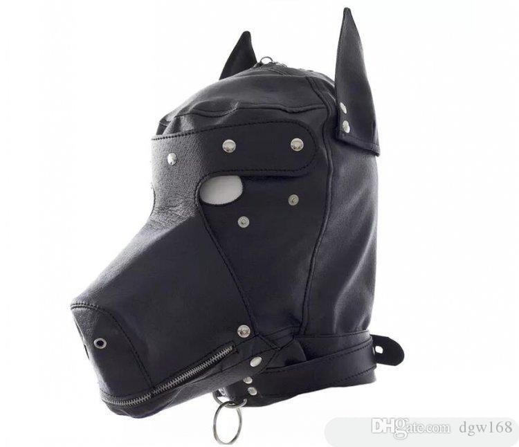 Sex Fetish role play Cabeça de escravo do cão capuz capuz cabeça bondage totalmente fechado diversão headgear masks jogo do sexo jogo BDSM para casais