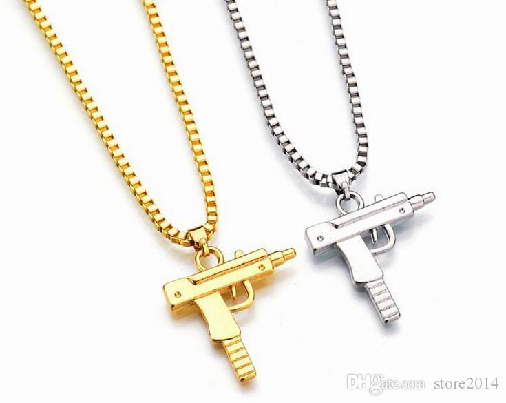 Yeni Uzi Altın Zincir Hip Hop Uzun Kolye Kolye Erkekler Kadınlar Moda Marka Gun Şekil Tabanca Kolye Maxi Kolye HIPHOP Takı