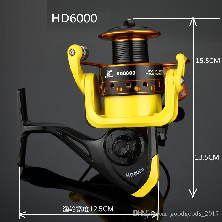 Relación de velocidad 5.2: 1 Carrete de pesca de hilado de metales HD1000-7000 Carretes de hilatura Océano Mar Barco Pesca en hielo aparejos de aluminio PESCA 12 ejes K002