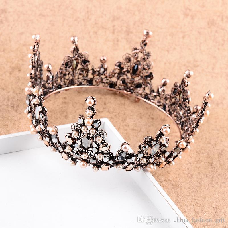 Diamond Pearl Crown para la boda nupcial barroco estilo más nuevo Queen Crown boda joyería para la princesa