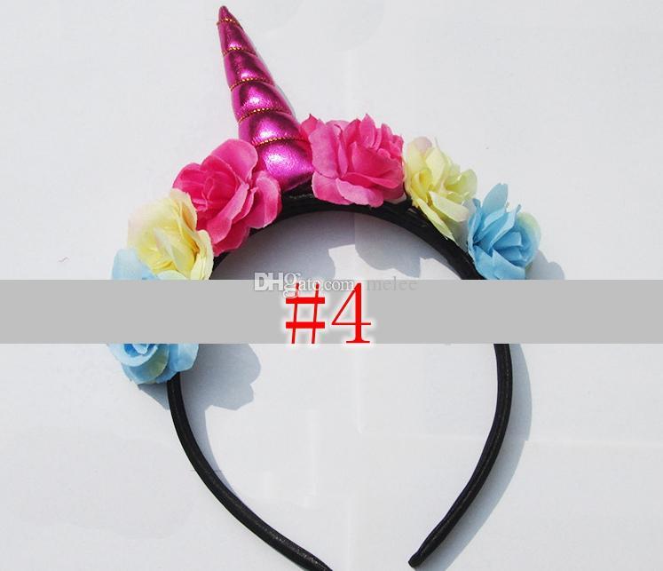 Halloween bebê unicórnio varas de cabelo headband infantil festa de aniversário crianças varas do cabelo do bebê meninas headband floral ouro lantejoula fita de cabelo