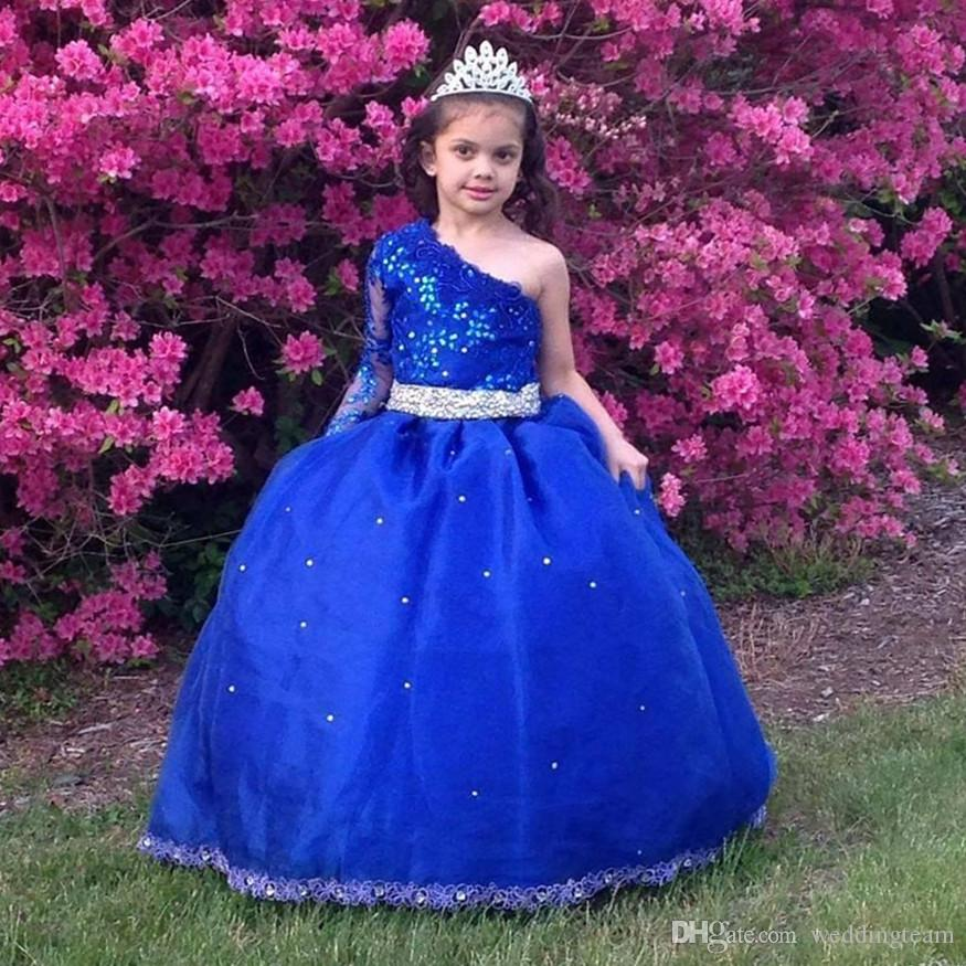 Blue Rhinestones Girls Pageant Dresses With Sleeve Lace Appliqued Ball Gown Beaded Flower Girl Dress One Shoulder Kid First Communion Gowns