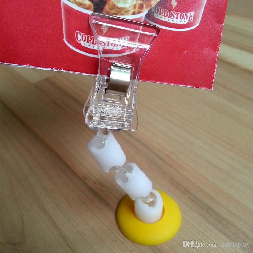 Clip di promozione del cartellino del prezzo del supporto della carta di plastica di POP.28mm di base bianca o gialla di base H85mm il segno dell'esposizione del negozio al minuto