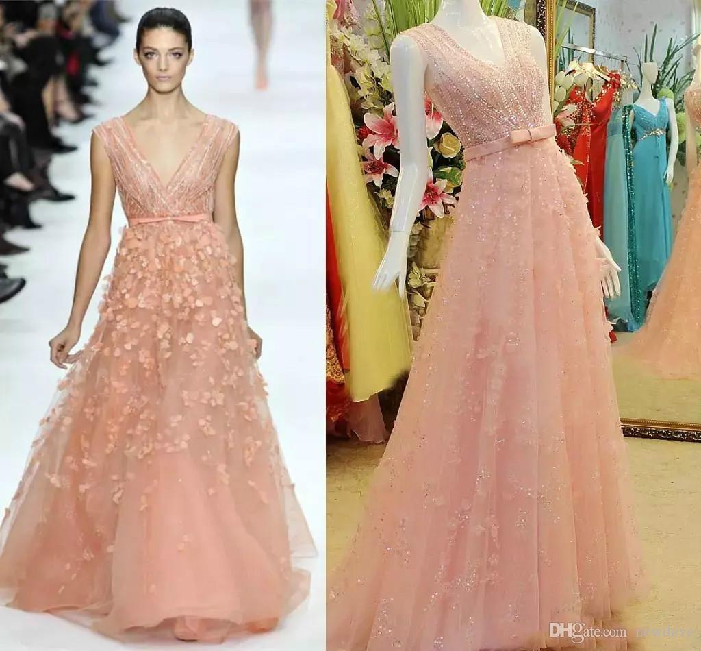 Blush Sequins Beads Evening Dresses V Neck Real Images Prom Dress A