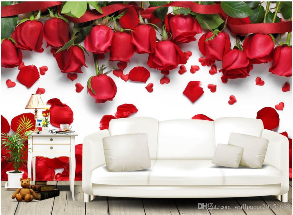3d murales carta da parati Bella romantica amore rosa rossa fiore petalo TV sfondo muro 3d natura sfondi