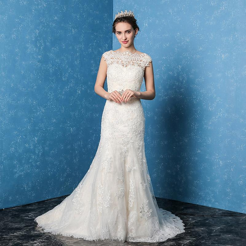 2017 New Korean Wedding Dress Code Word Shoulder Simple Strapless Lace Slim  Tail Backless Hand Embroidery Wedding Dress Wedding Dresses Of 2015 Wedding  Gown ...