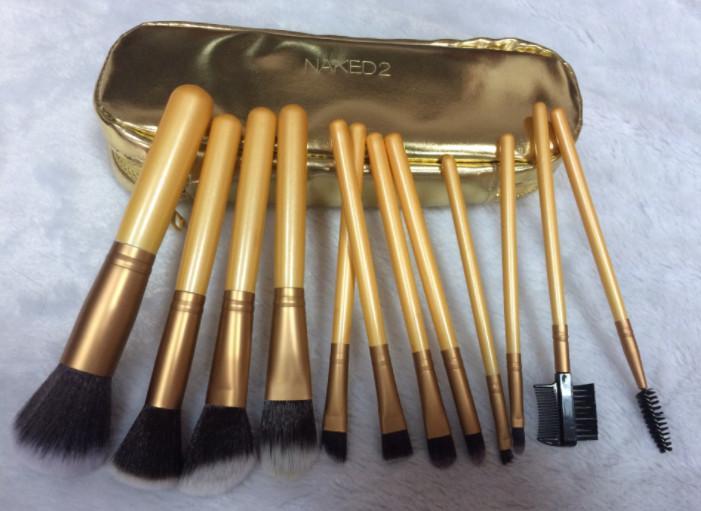 Кисти для макияжа с сумочкой 12 штук Профессиональный набор кистей для макияжа Kit Nude Gold DHL Набор инструментов для обнаженных кистей художника Bea458