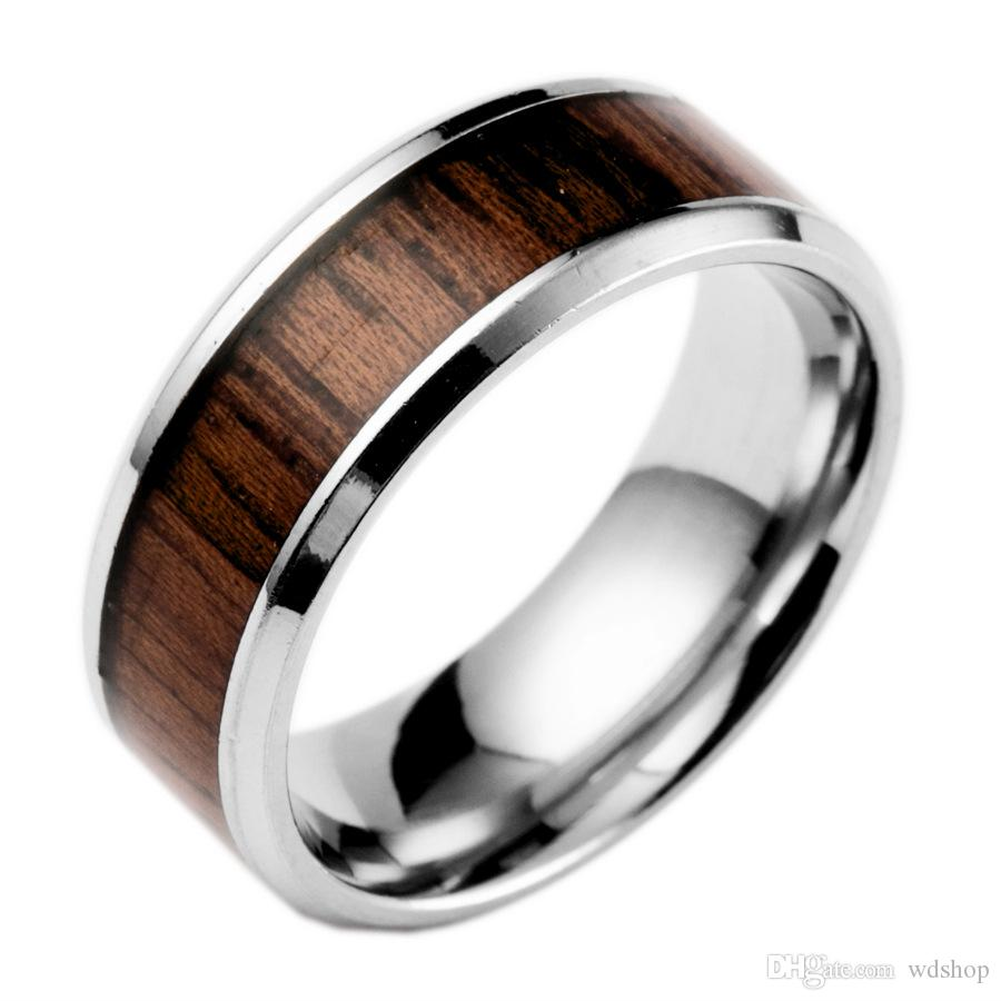 Wood Wedding Bands.Titanium Steel Wedding Ring With Teak Wood Wood Inlay And Polished Beveled Edges Comfort Fit Lightweight Durable Wooden Wedding Band