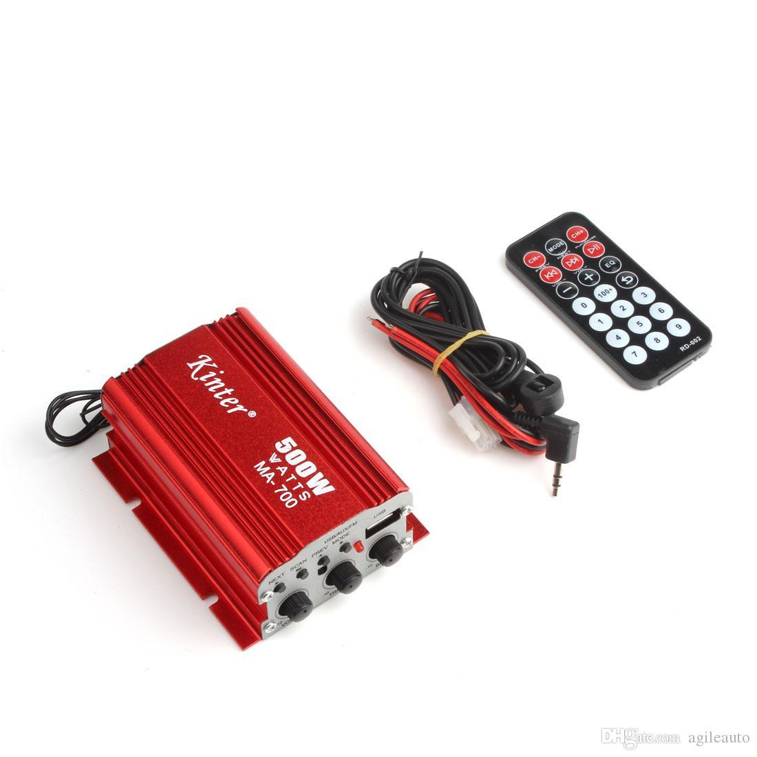 Kinter MA-700 500 W Auto Digital Moto Automóvil 2 canales Audio AMP Amplificador FM Radio Estéreo con Soporte Remoto USB MP3 Entrada FM CEC_838