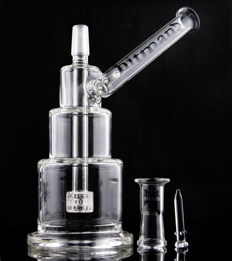 Mini 3 Layers Thick Glass Hitman Birthday Cake oil Rig Heady Bongs Rig Glass Dome Nail Bong Water Pipes Hookahs Shisha 7.9''
