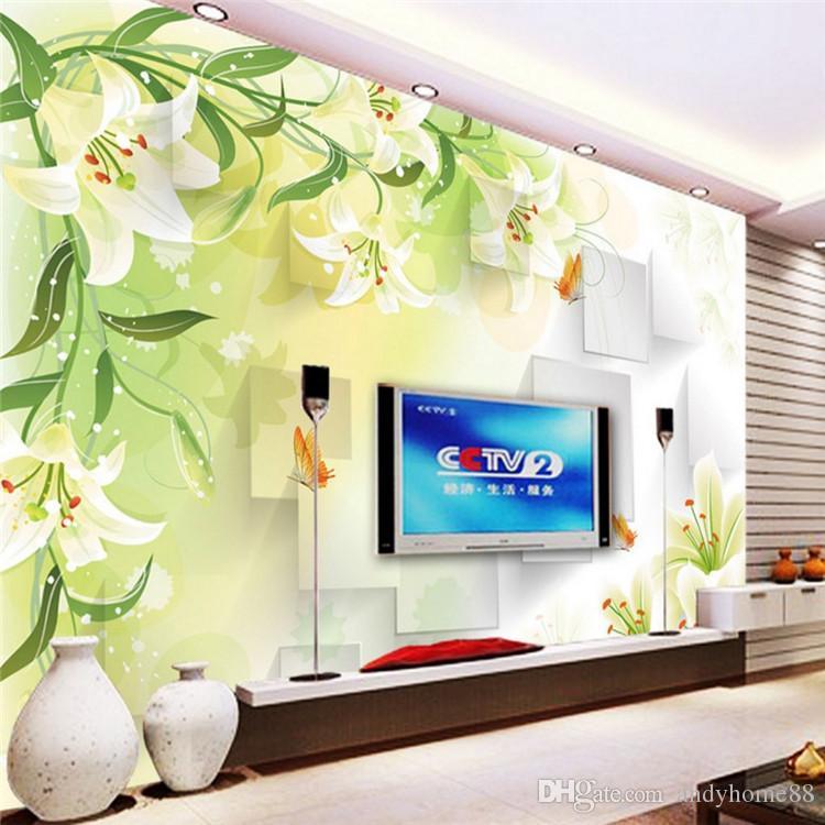 3D Wandbilder Schlafzimmer Wohnzimmer Fernsehen Hintergrund Tapete Tapete  einfache moderne Wandtuch Vliestapete dreidimensional