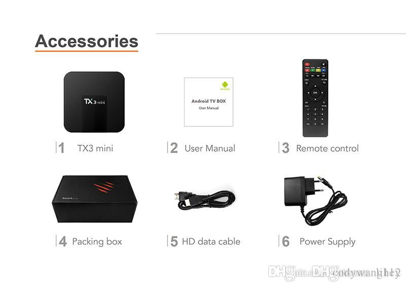 Android TX3 MINI 1GB / 8GB 2GB / 16GB Android 7.1 TV Box Amlogic S905W con soporte para IPTV HDMI 4k Reproductor multimedia de transmisión