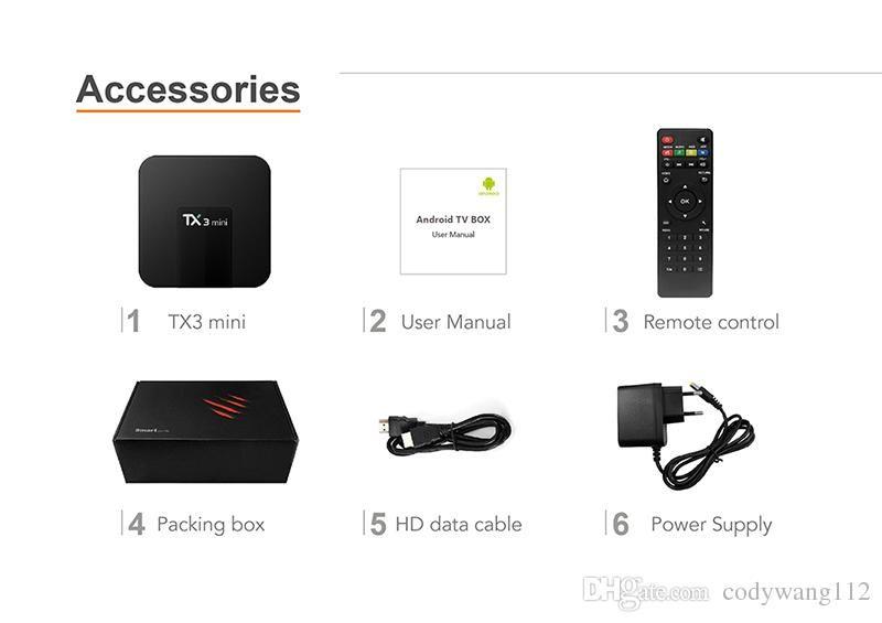 Scatola TV TX3 MINI Android 8.1 originale 1GB / 8GB 2GB / 16GB Amlogic S905W supporto IPTV HDMI 4k Streaming Media Player