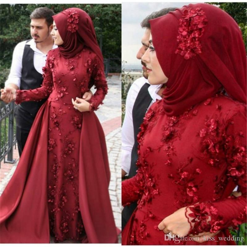 Gorgeous Overskirts Muslim Party Dresses Flowers Appliqued Indian ...