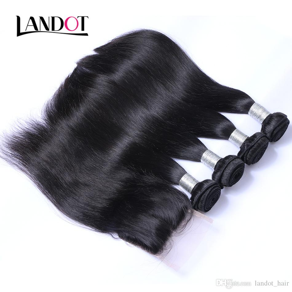 Brasiliano peruviano malese indiano indiano capelli umani di capelli umani intrecciati con chiusura non trasformata i capelli brasiliani dei capelli dei capelli e chiusure di pizzo