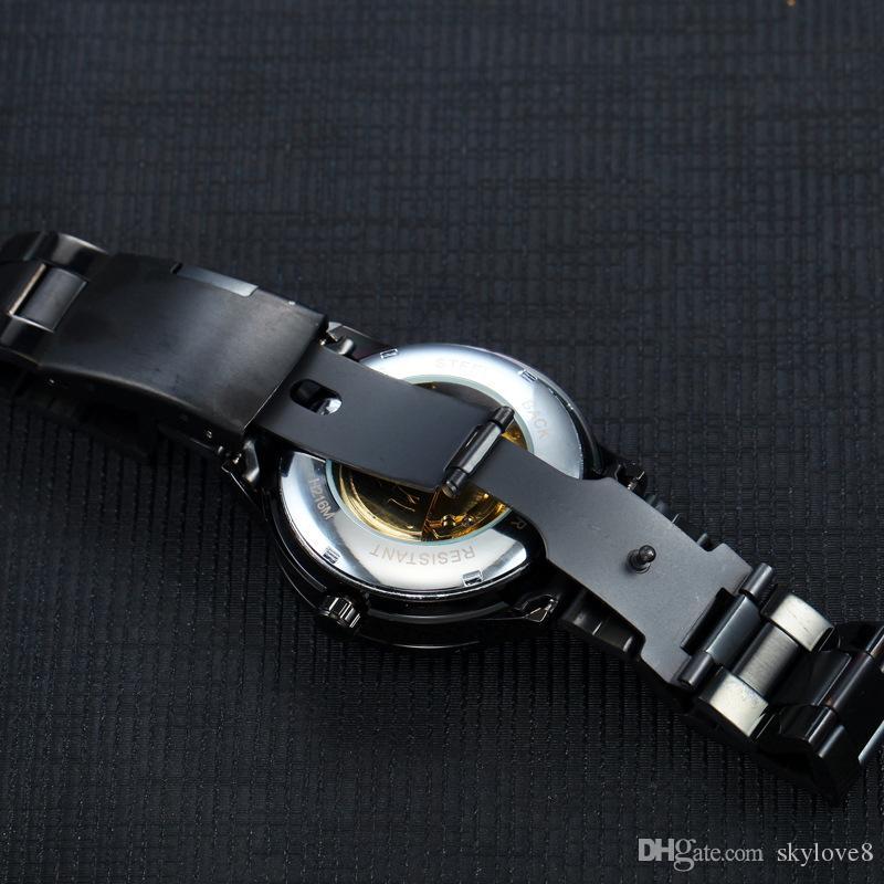 Section creuse de la boîte automatique classique marque T-WINNER hommes montre automatique top qualité acier ceinture montre mécanique anniversaire / cadeau d'anniversaire