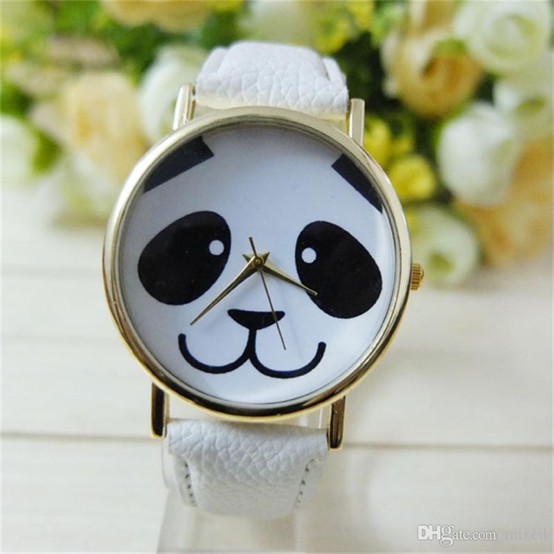 Уникальный дизайн Женева искусственный кожаный ремешок часы животных панда свободного покроя кварцевые женские часы милые