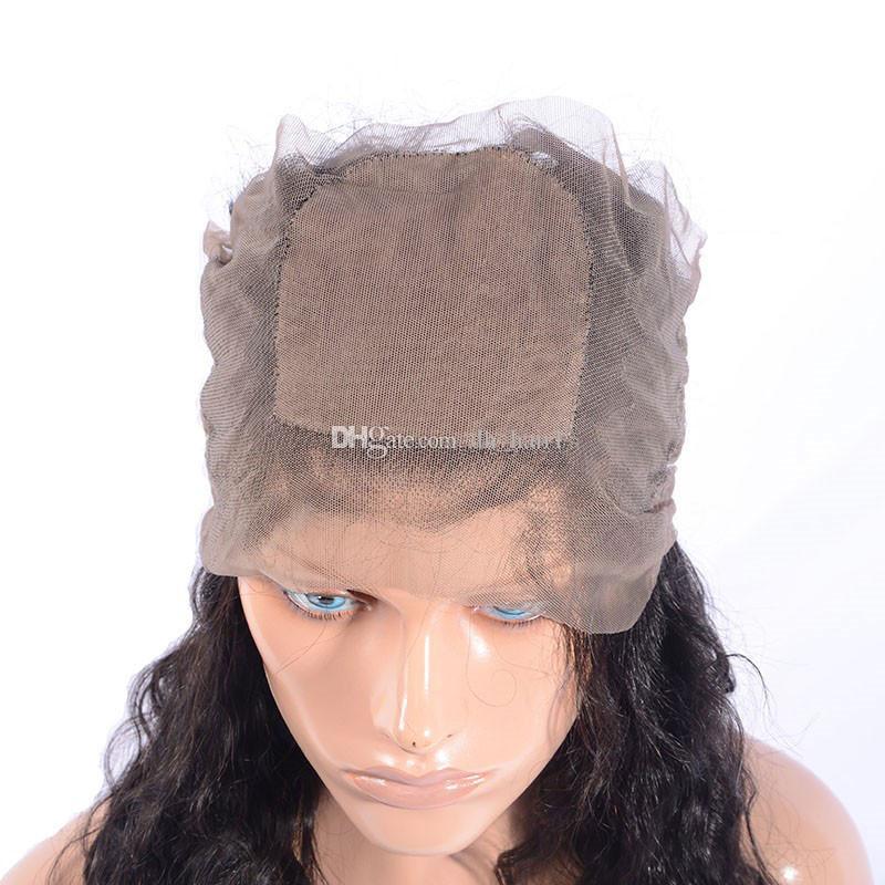 Pre щипковых Silk Base 360 Кружева Фронтальная Закрытие Бразильская Сыпучие глубокая волна волос 4 * 4 Silk Top 360 Lace диапазона Фронтальная с ребенком волос