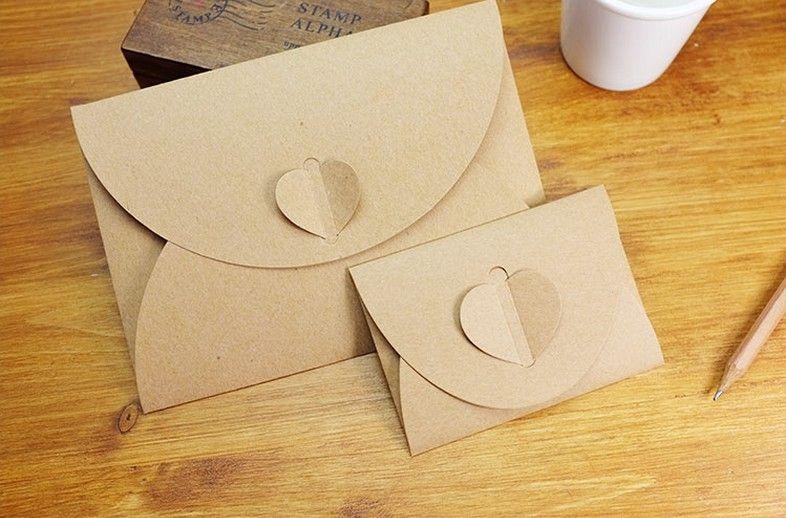 Wholesale 7 5 10 5cm Heart Clasp Small Size Kraft Paper Envelope