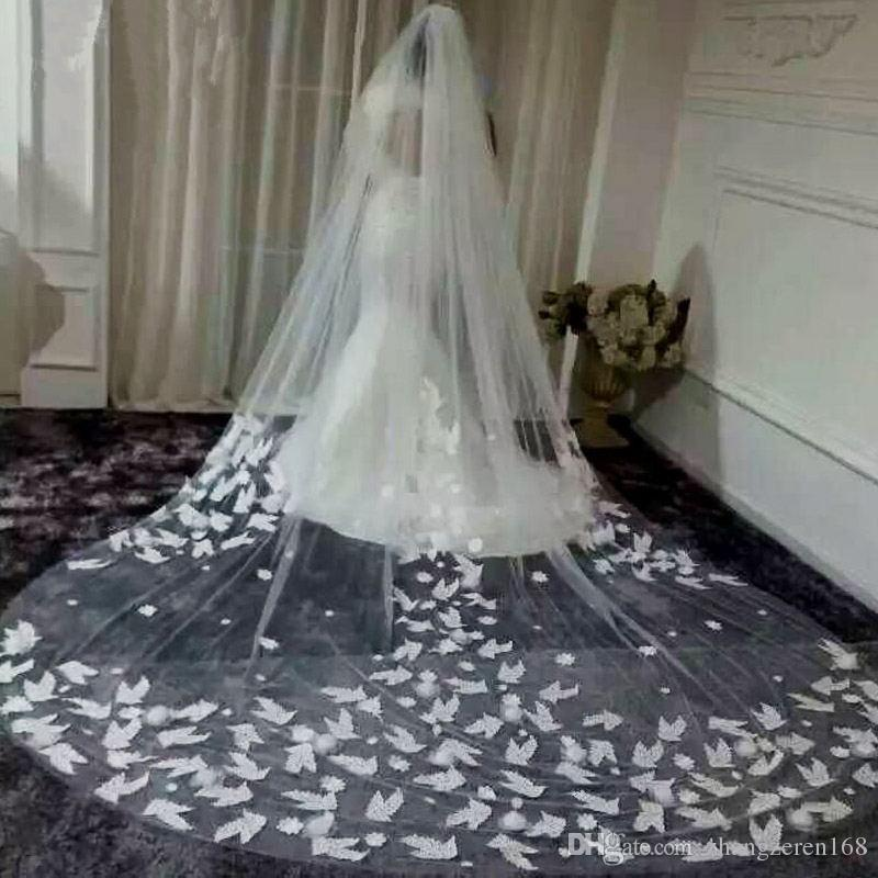 2017 Bride Wedding 3 Million Tail Long Romantic Lace Rose Applique White Ivory Veil Accessories Cathedral Veils How To Make A Bridal