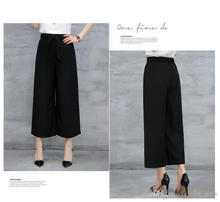Buona A ++ gamba larga femminile nove minuti estate vita alta allentata grandi pantaloni casual PW021 Pantaloni Capris da donna
