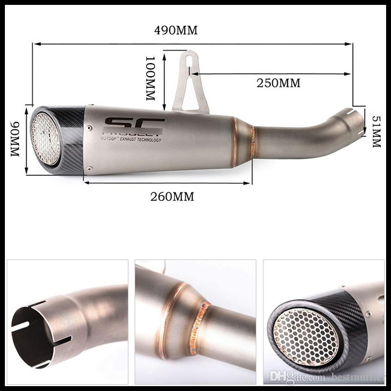 Laser Marking SC Universal Motorcycle Exhaust Vent Pipe Stainless Steel Exhaust System for Z900 Diameter 51 mm