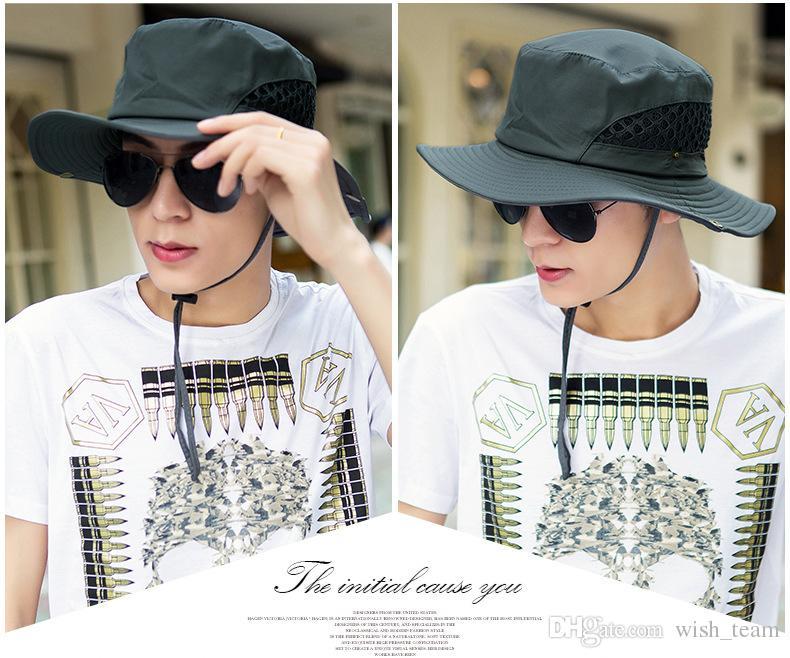 d3a81720 Outdoor Sun Hat Men Bucket Hats Summer Fishing Cap Wide Brim UV Protection  Flap Hat Breathable Mesh Bone Gorras Beach Hat Men Canada 2019 From  Wish_team, ...