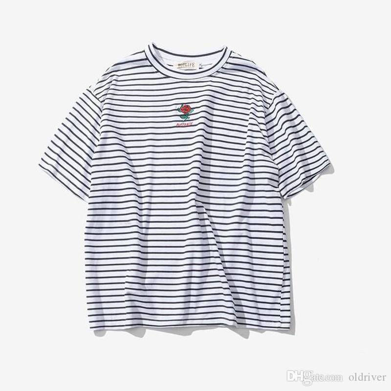 1b2933f004b1b Acheter T Shirt À Manches Courtes Pour Hommes À Rayures Brodées Summer Rose  Hi Street Surdimensionné Hip Hop T Shirts En Coton De  24.91 Du Oldriver ...