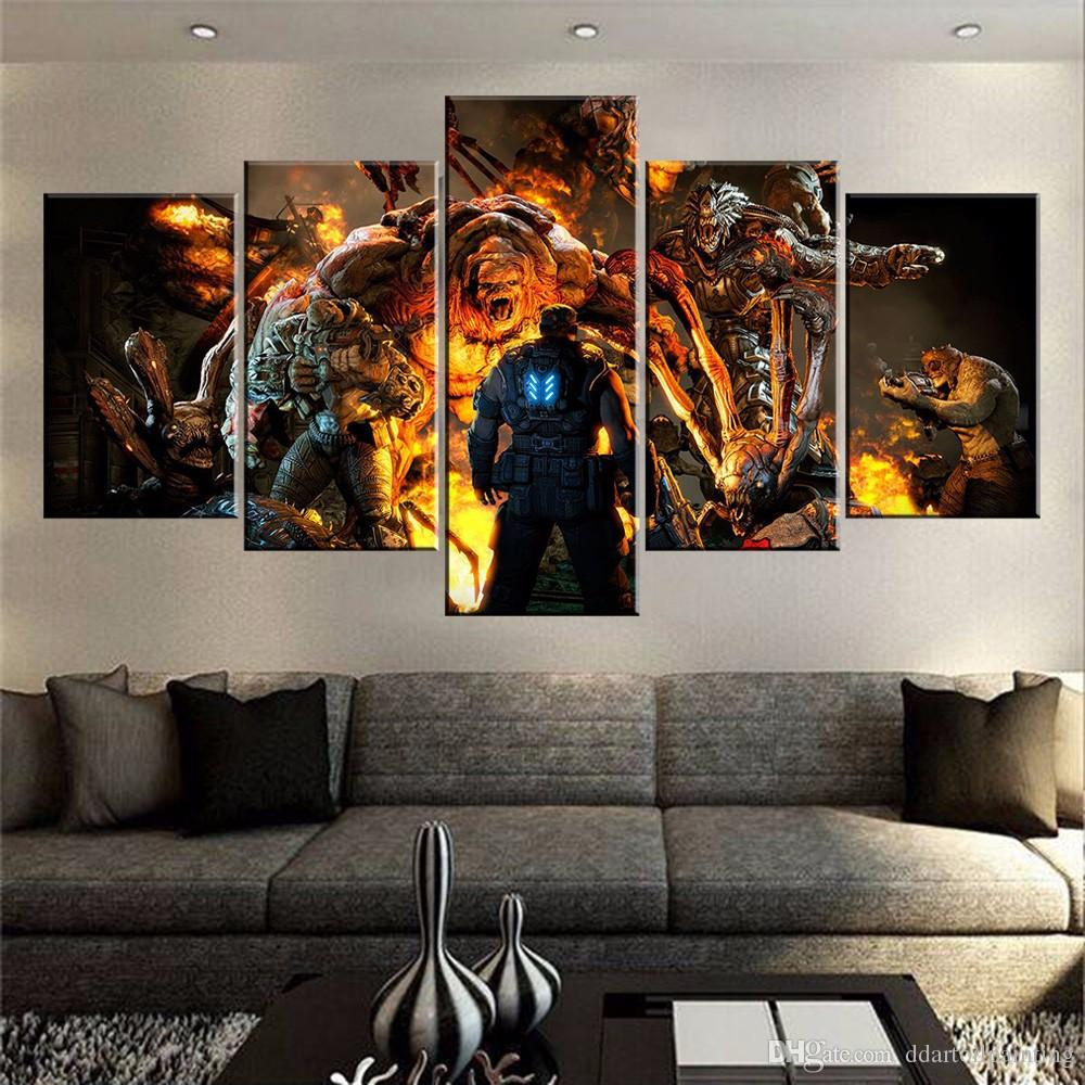 2017 60x32 canvas art print, 5 panels game living room wall art