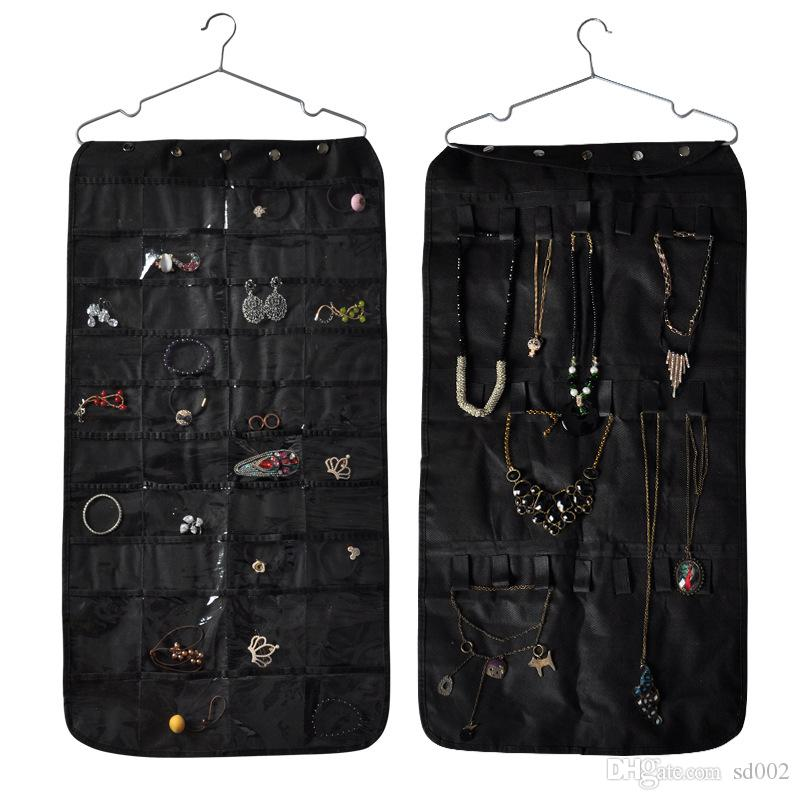 Necklace Bracelet Organizer Pouch High Capacity Double Sided Non Woven Jewelry Display Storage Hang Bag Black 17 64kj C R