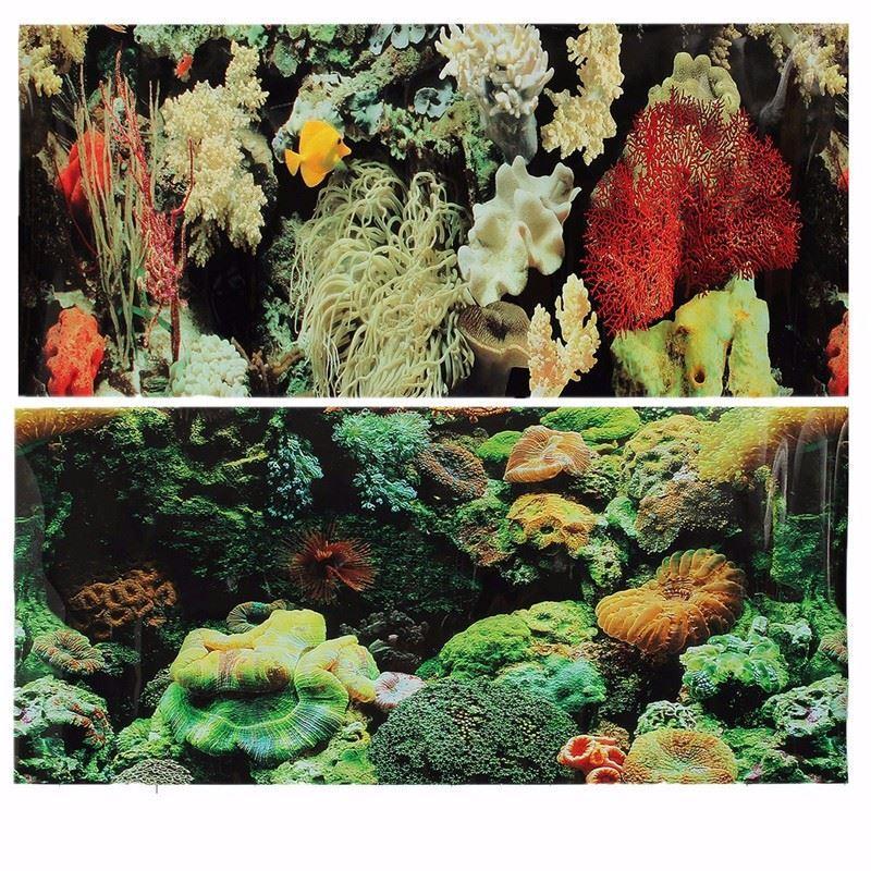 Çift PVC Taraflı Akvaryum Peyzaj Balık Tankı Posteri Arka Plan Vivaryum Dekor Çeşitli Desenler