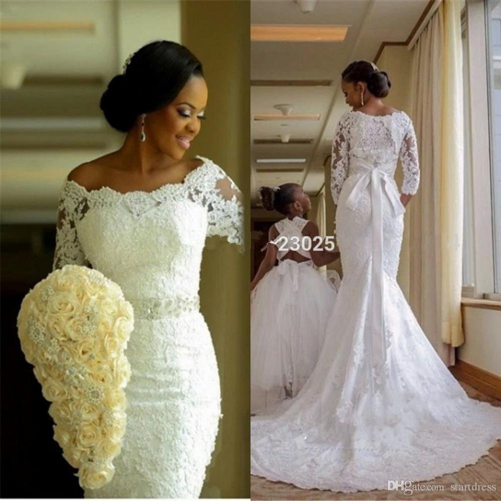 Wedding Gowns South Africa: Vintage White Plus Size Mermaid African Wedding Dresses