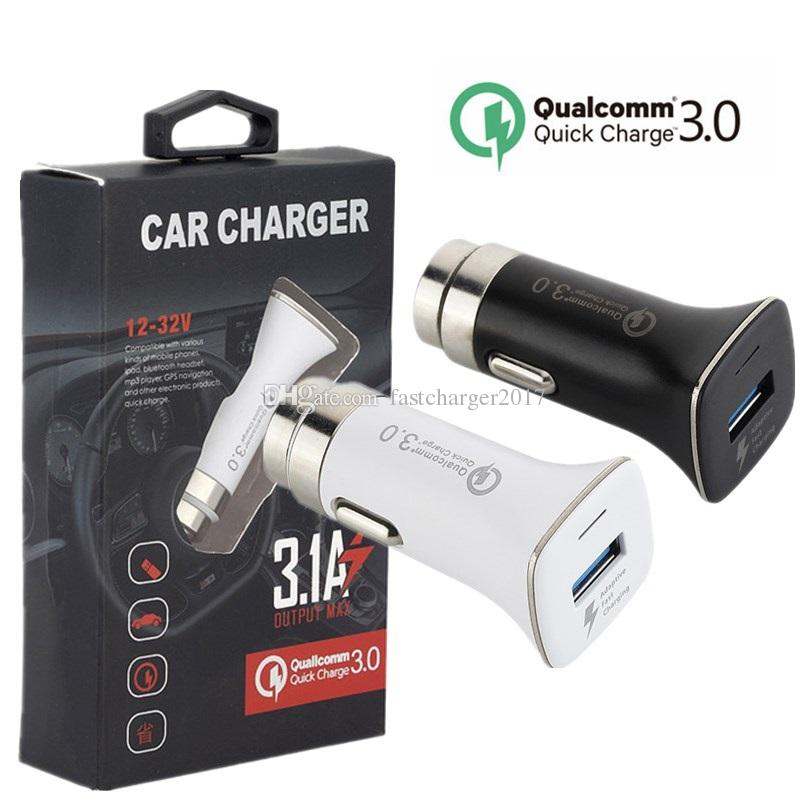 Car Charger QC 3.0 5V 3.1A Single Hammer Safe Emergency Car charger power adapter for ipad iphone 7 8 Samsung s6 s7 s8 android phone + Box