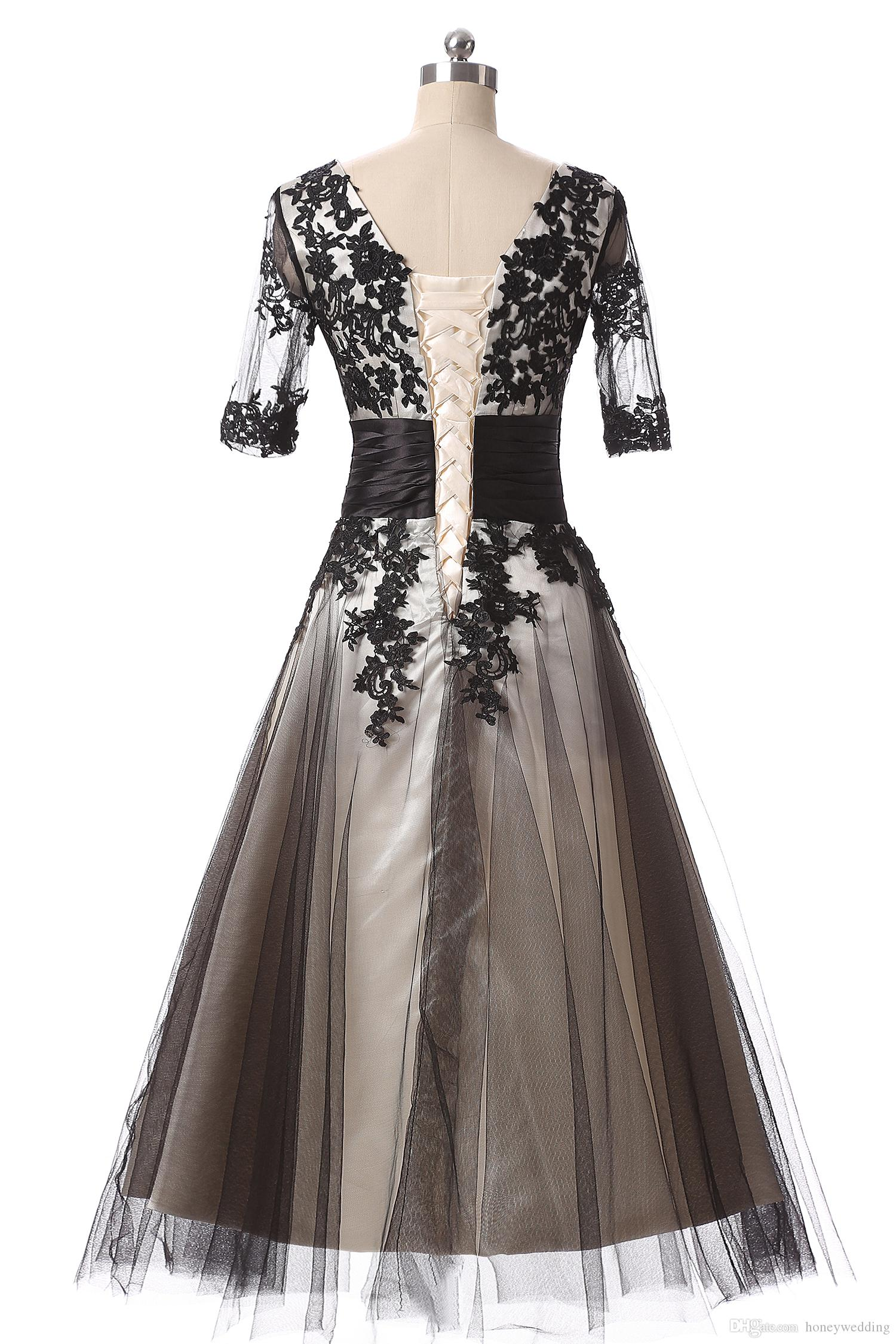 Vestidos curtos de baile barato 2017 meia mangas de renda apliques de chá de comprimento Cocktail Party Dress Champagne Champagne Ocasião Formal vestido Vestidos