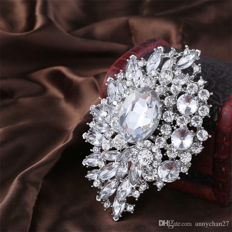 Large Brooch Bouquet Sparkly Silver Boutonniere Corsage Crystal Rhinestone buckle Flower Pins Swarovski Wedding Big Brooch Pin Best Jewelry