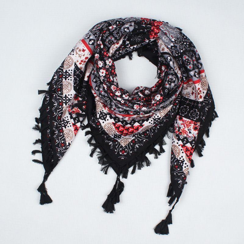 0ecdf372fa0 hot sale new fashion woman Scarf square scarves tassel Printed Women Wraps  Winter autumn ladies shawls free shipping