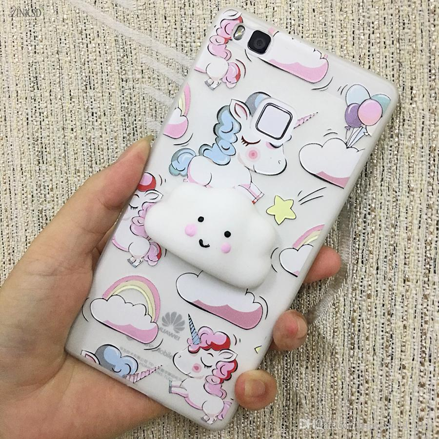For iPhone 6 6s 7 Plus Cute 3D Smiling clouds Stress Relievr Squishy Phone Case Soft IMD Back Cover Fundas Coque