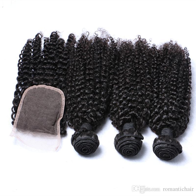 Cheveux bouclés vierges brésiliens 3 faisceaux avec fermeture à lacet partie libre ou centrale