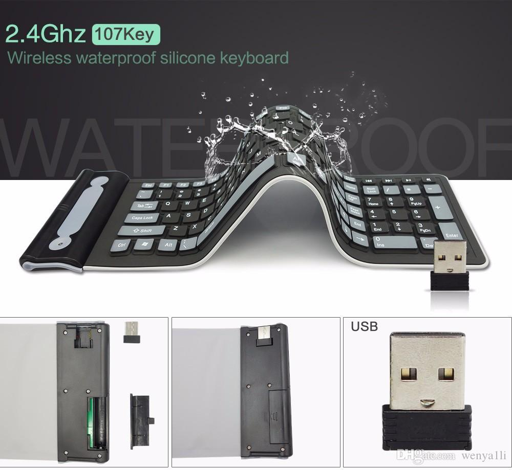 المحمولة 2.4G اللاسلكية لوحة المفاتيح سيليكون لينة 107 مفتاح ماء مرنة قابلة للطي لوحة المفاتيح الجيب لوحة المفاتيح لأجهزة الكمبيوتر المحمولة