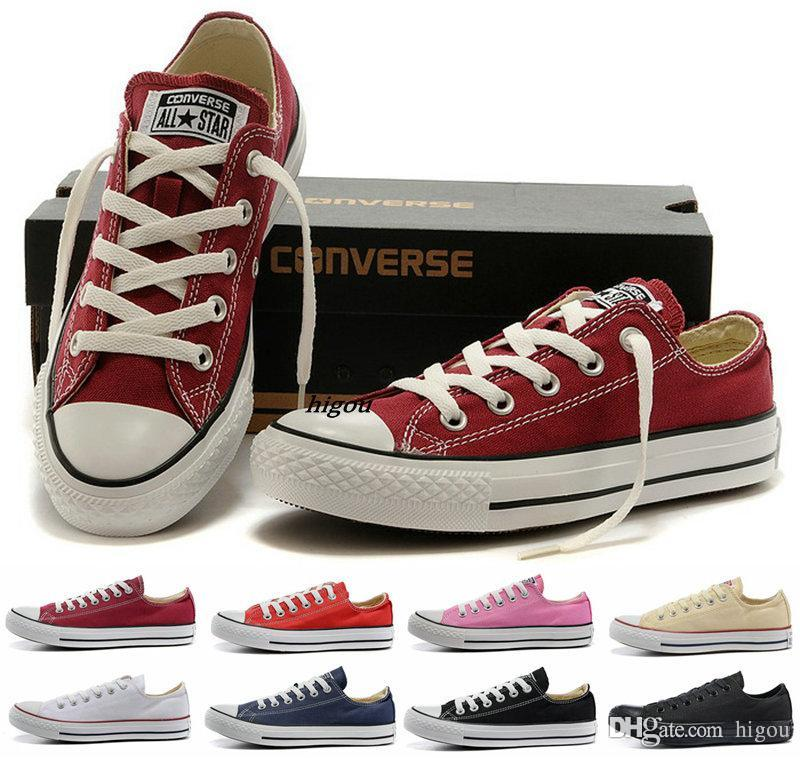 a661b4ff241d Acquista 2017 Hot Converse Chuck Tay Lor All Star Scarpe Low Cut Uomo Donna  Casual Canvas Classic Nero Bianco Rosso Brand Converses Running Sneakers A  ...