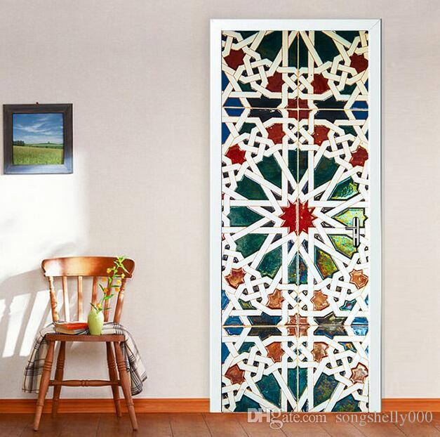 Color Kaleidoscope Glass Door Sticker Bedroom Door Renovation Creative Self  Adhesive Decorative Waterproof Door Stickers Walls Stickers White Tree Wall  ...