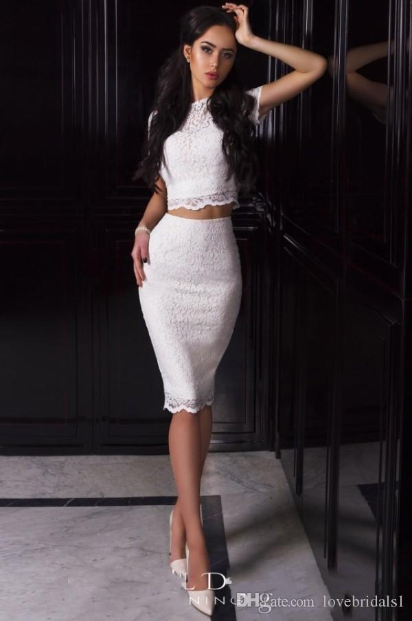 2017 sexy élégant deux pièces dentelle robe de cocktail pour fille genou longueur bâtiment décolleté court robe de bal sans manches courtes