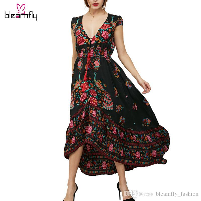 2017 New Spring Summer Bohemian Maxi Dress for women Long Beach Dresses Flower Printed Sexy V--neck Large Size boho vestidos