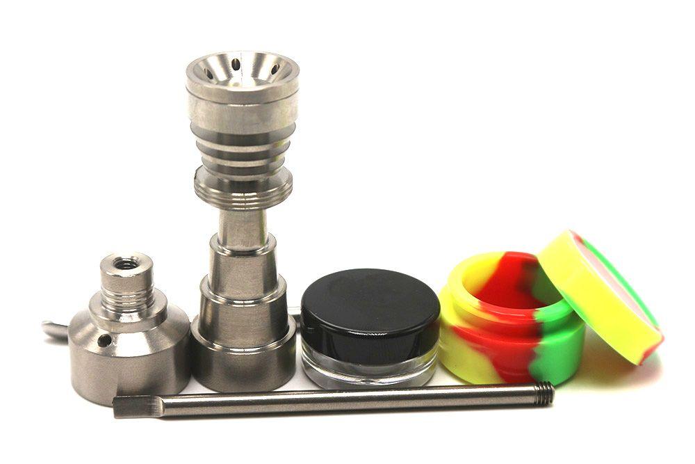 Ferramenta de vidro do bongo de vidro 10mm 14mm 18mm ajustável Domeless GR2 Titanium Prego Carb Cap Dabber Ferramenta Slicone Jar Dab Recipiente para Bongo por Bandy