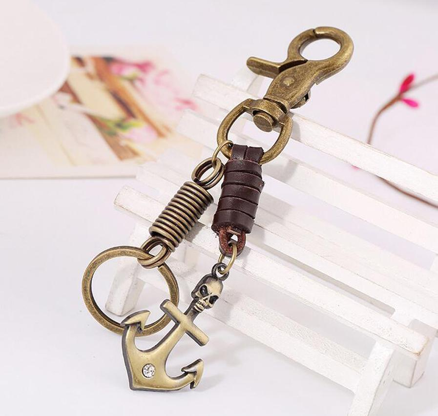 Unisex Leather Metal Anchor Keychains Keychain Car Key Chain Ring, Vintage Jewlry Women Bag Pendant, Cowboy Accessories