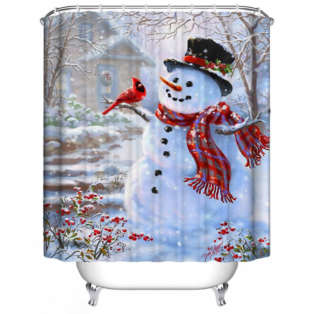 2018 wholesale 3d christmas shower curtain waterproof polyester bathroom decor with hooks new. Black Bedroom Furniture Sets. Home Design Ideas