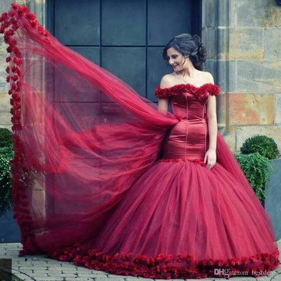Amazing Burgundy Off the Shoulder Sweetheart Flowers Short Sleeve Mermaid Evening Dresses for Engagement 2017 Charming Prom Party Gowns