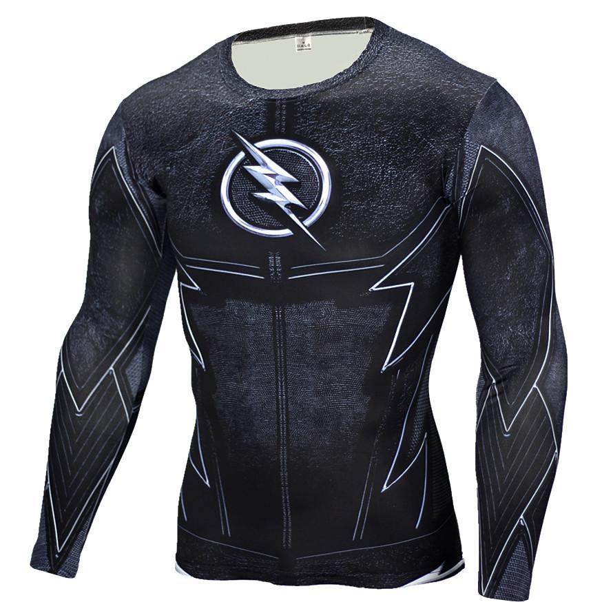 19711234fd Compre Atacado O Flash Black Panther T Shirt Homens 3D Impresso T Shirt De  Fitness Camisa De Compressão Crossfit Manga Longa Slim Fit Top Tees Camisa  De ...