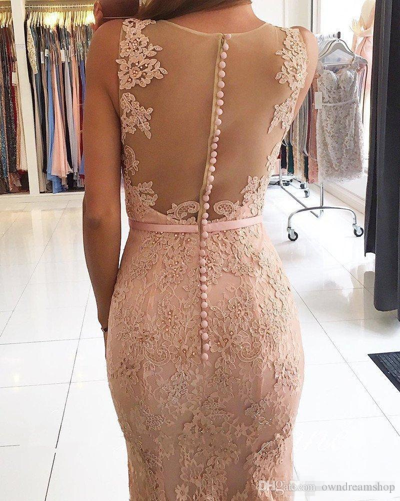 Modest Full Lace Mermaid Evening Dresses 2017 With Beaded Covered Buttons Back Plus Size Bridesmaid Prom Party Gowns With Blush Pink Sash