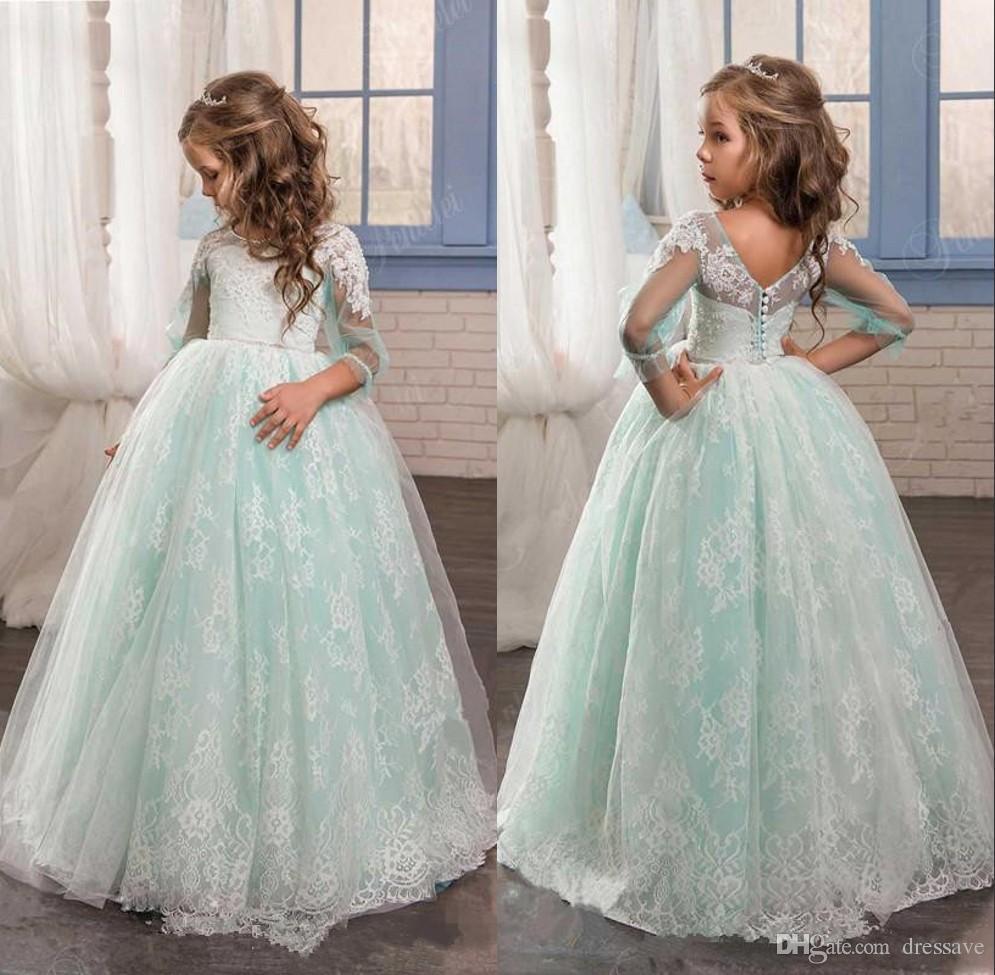 2018 White Lace Ball Gown Floor Length Flower Girls Dresses For ...